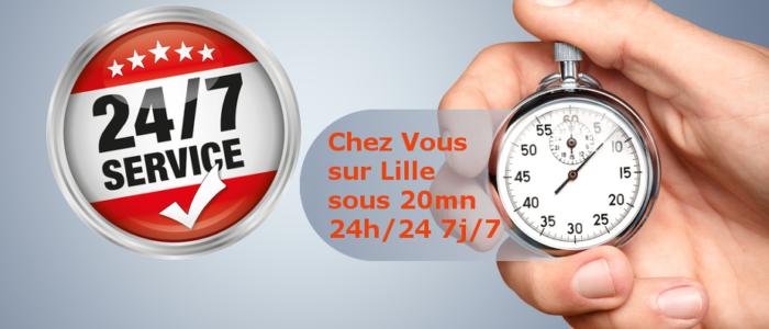 Dépannage sous 20mn 24h/24 7j/7 sur Lille Métropole