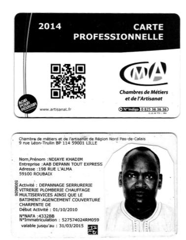 Carte professionnelle artisan serrurier à Lille Ndiaye Khadim
